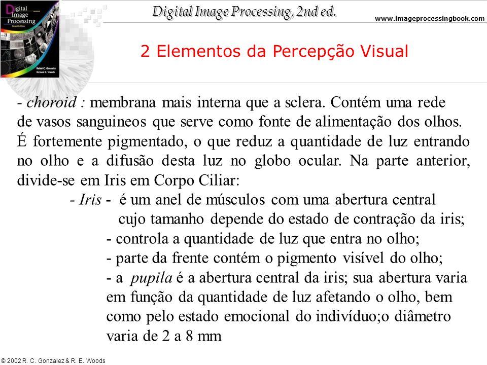Digital Image Processing, 2nd ed. www.imageprocessingbook.com © 2002 R. C. Gonzalez & R. E. Woods - choroid : membrana mais interna que a sclera. Cont