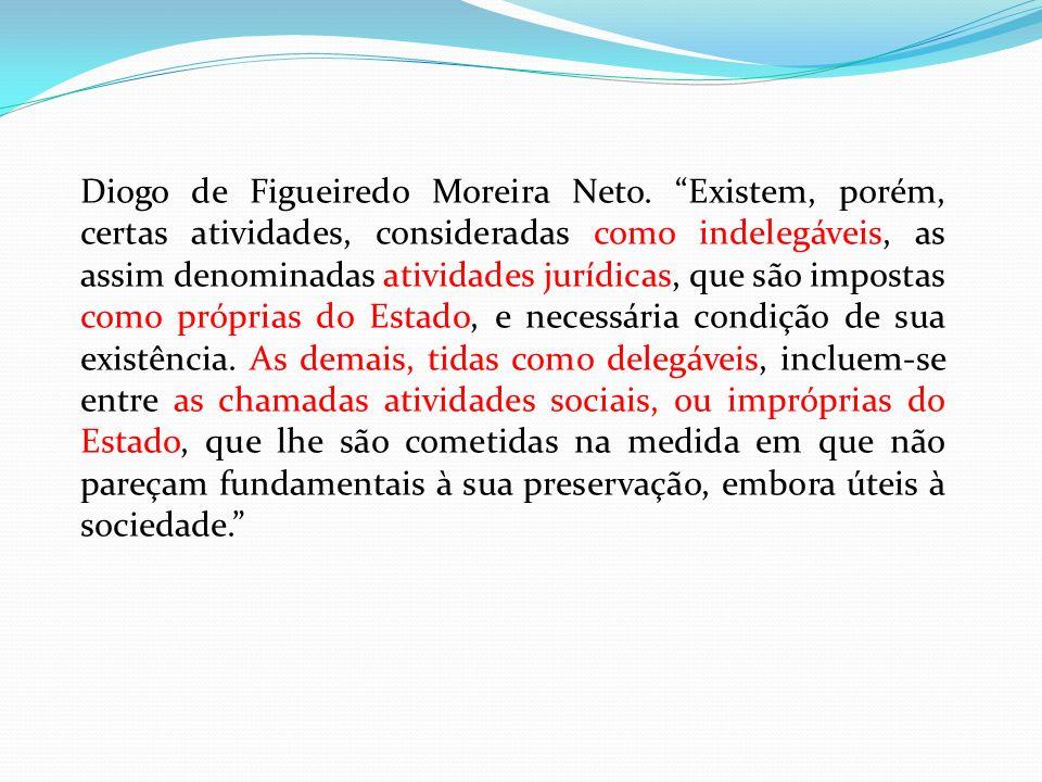 Diogo de Figueiredo Moreira Neto. Existem, porém, certas atividades, consideradas como indelegáveis, as assim denominadas atividades jurídicas, que sã