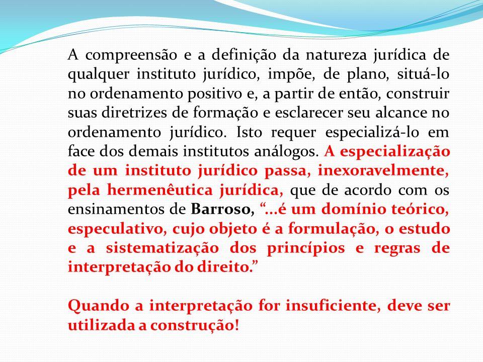 A compreensão e a definição da natureza jurídica de qualquer instituto jurídico, impõe, de plano, situá-lo no ordenamento positivo e, a partir de entã