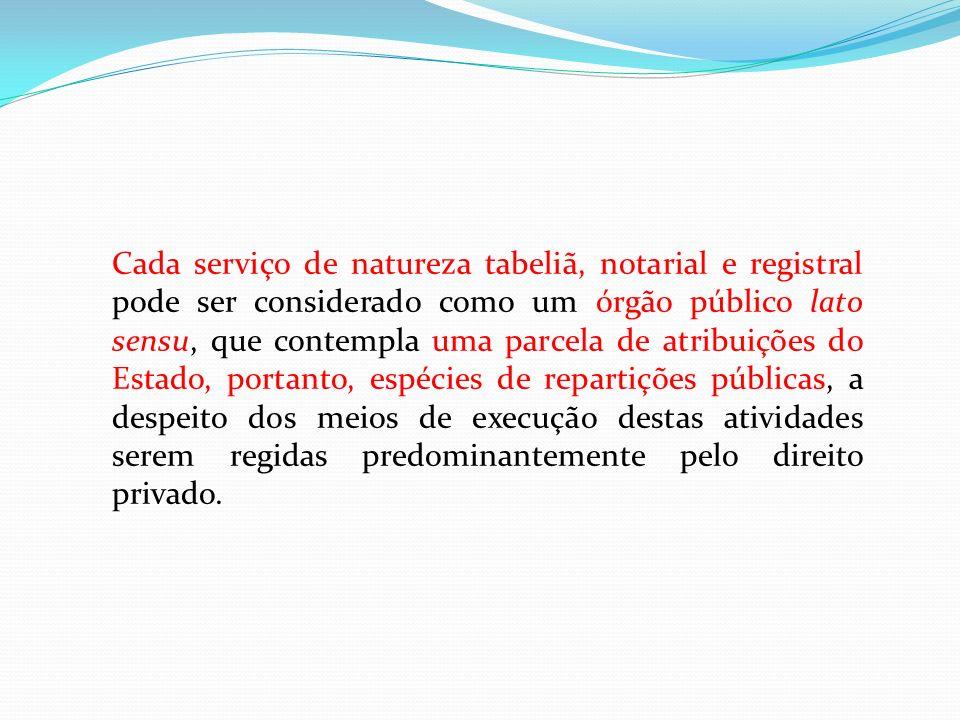 Cada serviço de natureza tabeliã, notarial e registral pode ser considerado como um órgão público lato sensu, que contempla uma parcela de atribuições
