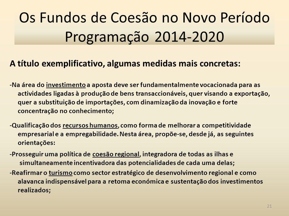 22 Os Fundos de Coesão no Novo Período Programação 2014-2020 - Continuar a apoiar medidas de reestruturação de dívidas e apoio à liquidez empresarial; - Criar medidas de apoio à recapitalização empresarial; - Redução de custos de contexto, que constituem um entrave à competitividade das empresas; - Criar um programa específico para a regeneração urbana; - Definir e implementar uma estratégia global e integrada para a economia do mar; - Potenciar o impacto dos recursos comunitários no tecido empresarial regional, evitando-se a sua drenagem para o exterior.