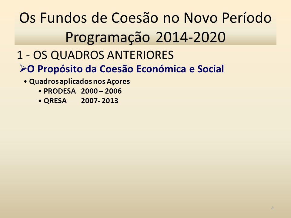 1 - OS QUADROS ANTERIORES 4 Os Fundos de Coesão no Novo Período Programação 2014-2020 O Propósito da Coesão Económica e Social Quadros aplicados nos Açores PRODESA 2000 – 2006 QRESA 2007- 2013
