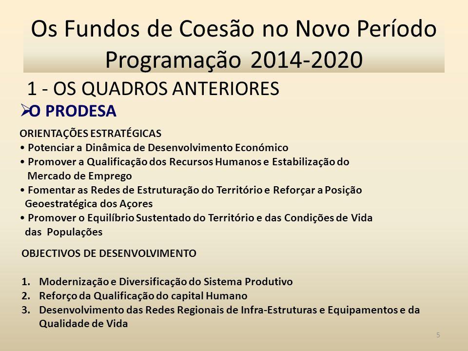 1 - OS QUADROS ANTERIORES 6 Os Fundos de Coesão no Novo Período Programação 2014-2020 O PRODESA
