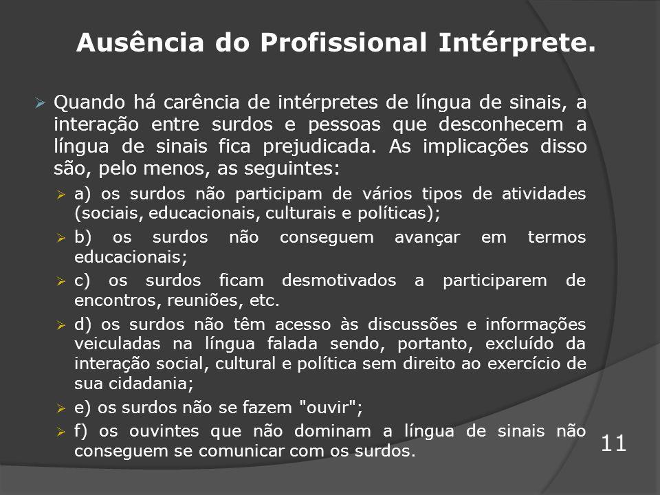 Ausência do Profissional Intérprete. Quando há carência de intérpretes de língua de sinais, a interação entre surdos e pessoas que desconhecem a língu