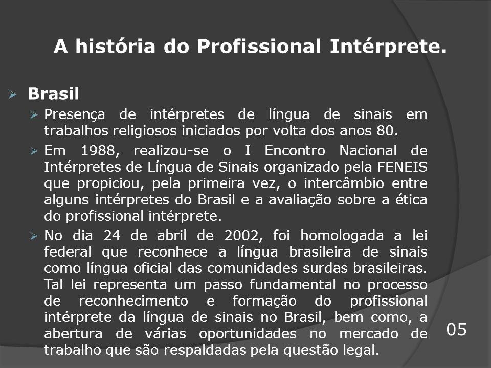 A história do Profissional Intérprete. Brasil Presença de intérpretes de língua de sinais em trabalhos religiosos iniciados por volta dos anos 80. Em