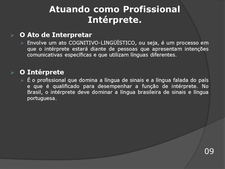 Atuando como Profissional Intérprete. O Ato de Interpretar Envolve um ato COGNITIVO-LINGÜÍSTICO, ou seja, é um processo em que o intérprete estará dia