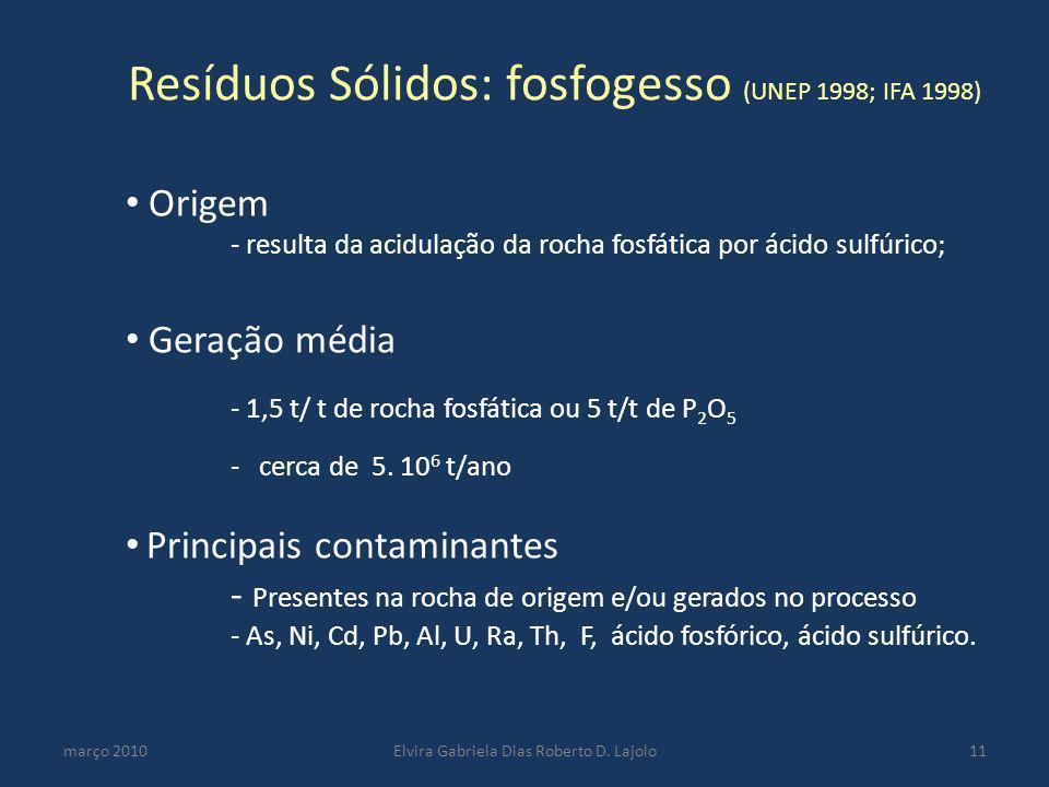 Resíduos Sólidos: fosfogesso (UNEP 1998; IFA 1998) março 2010Elvira Gabriela Dias Roberto D. Lajolo11 Origem - resulta da acidulação da rocha fosfátic