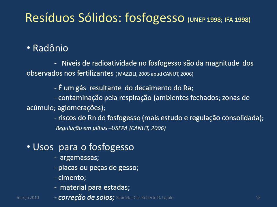 Resíduos Sólidos: fosfogesso (UNEP 1998; IFA 1998) março 2010Elvira Gabriela Dias Roberto D. Lajolo13 Radônio - Níveis de radioatividade no fosfogesso