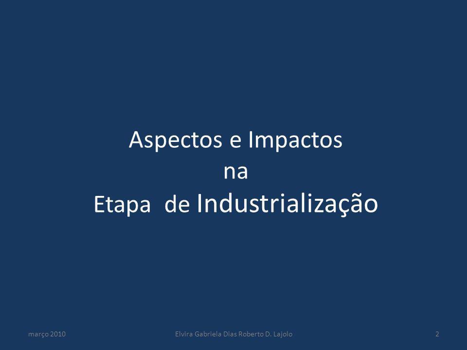 Aspectos e Impactos na Etapa de Industrialização março 2010Elvira Gabriela Dias Roberto D. Lajolo2
