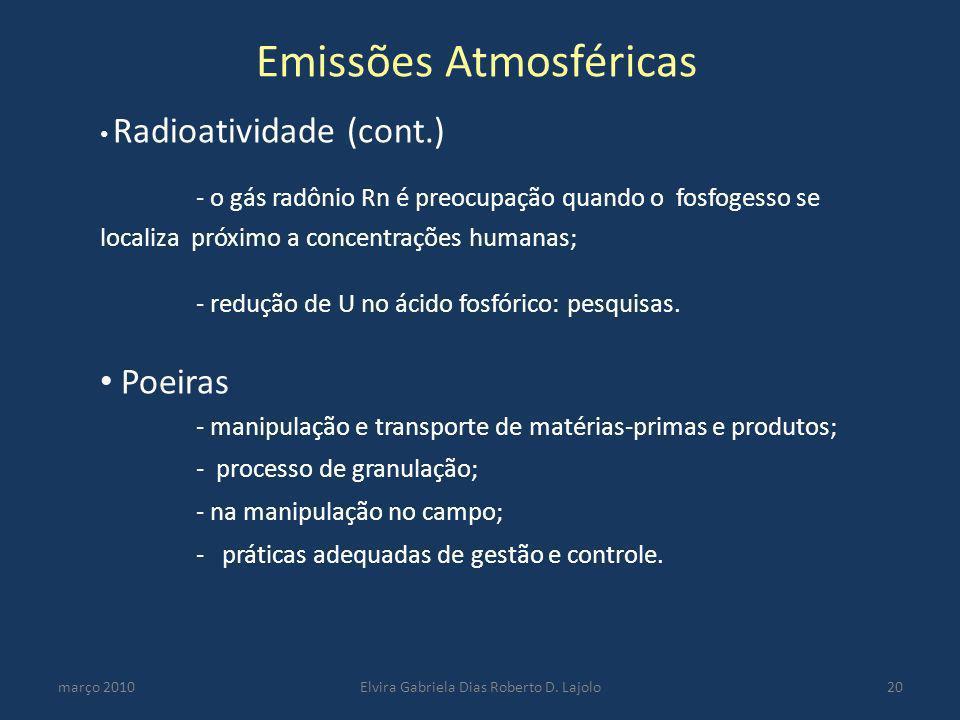 Emissões Atmosféricas março 2010Elvira Gabriela Dias Roberto D. Lajolo20 Radioatividade (cont.) - o gás radônio Rn é preocupação quando o fosfogesso s