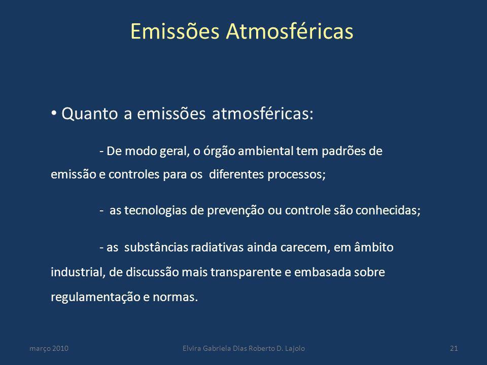 Emissões Atmosféricas março 2010Elvira Gabriela Dias Roberto D. Lajolo21 Quanto a emissões atmosféricas: - De modo geral, o órgão ambiental tem padrõe