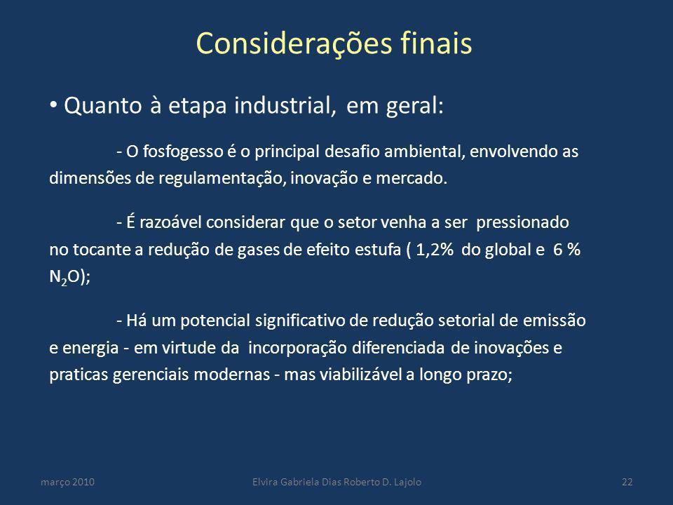 Considerações finais março 2010Elvira Gabriela Dias Roberto D. Lajolo22 Quanto à etapa industrial, em geral: - O fosfogesso é o principal desafio ambi
