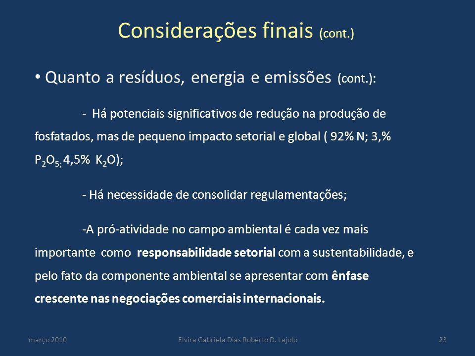 Considerações finais (cont.) março 2010Elvira Gabriela Dias Roberto D. Lajolo23 Quanto a resíduos, energia e emissões (cont.): - Há potenciais signifi