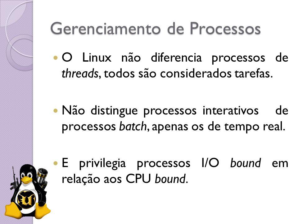 Gerenciamento de Processos O Linux não diferencia processos de threads, todos são considerados tarefas. Não distingue processos interativos de process