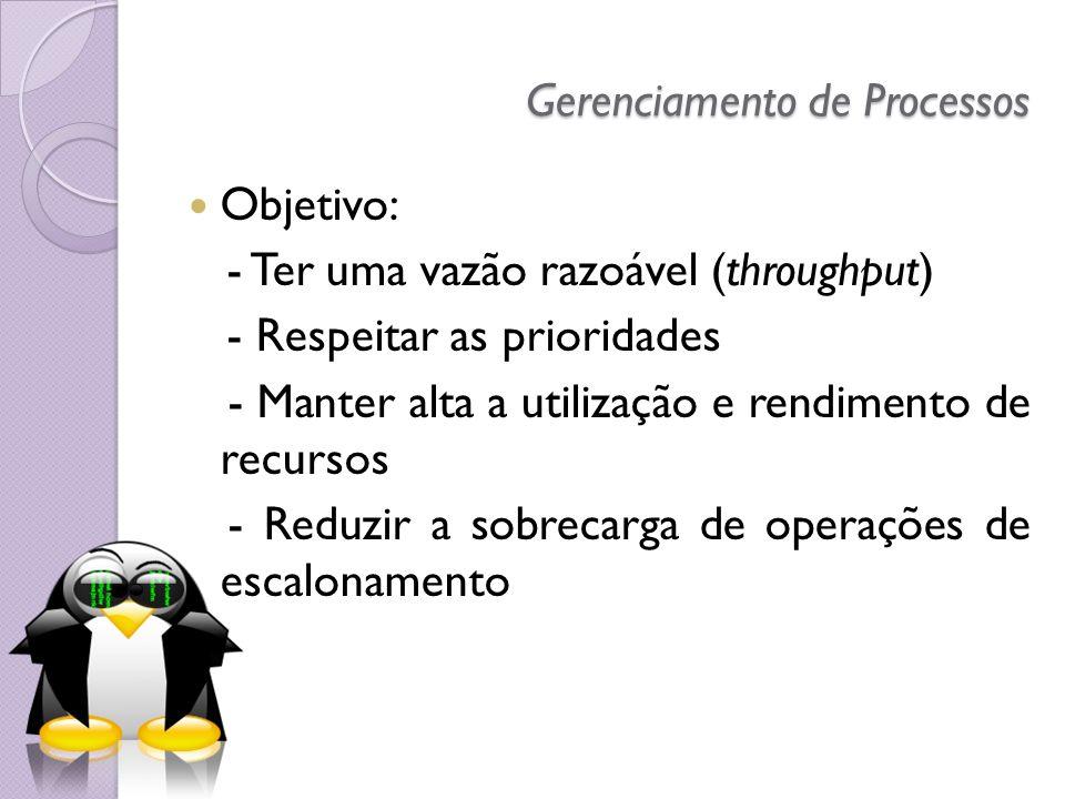 Gerenciamento de Processos Objetivo: - Ter uma vazão razoável (throughput) - Respeitar as prioridades - Manter alta a utilização e rendimento de recur