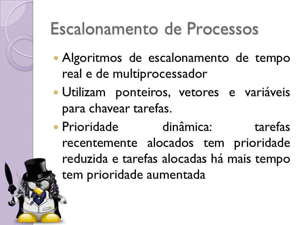 Escalonamento de Processos Escalonamento de Tempo Real: - Diminuir o tempo de espera de uma tarefa ser selecionada para um processador.