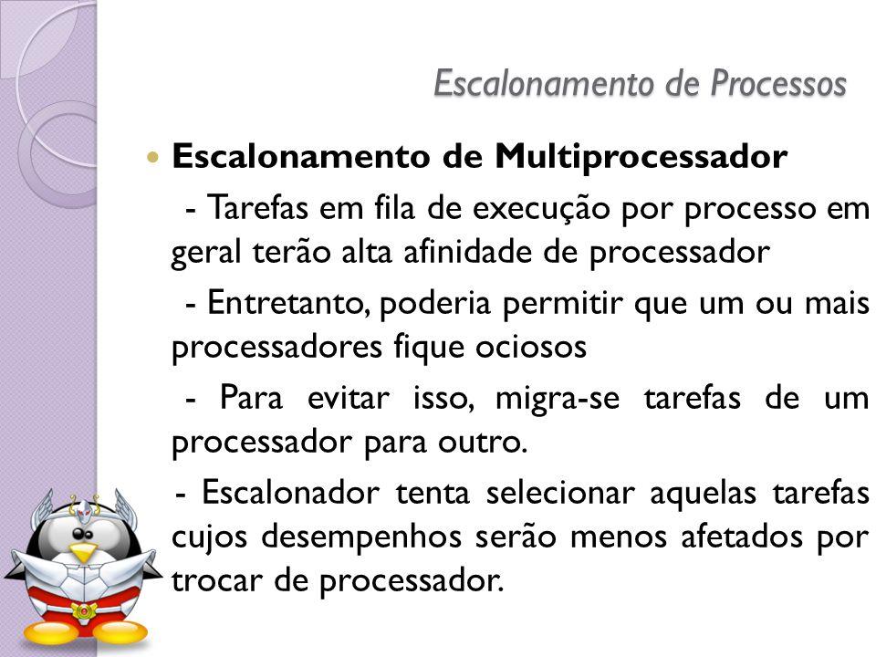 Escalonamento de Processos Escalonamento de Multiprocessador - Tarefas em fila de execução por processo em geral terão alta afinidade de processador -