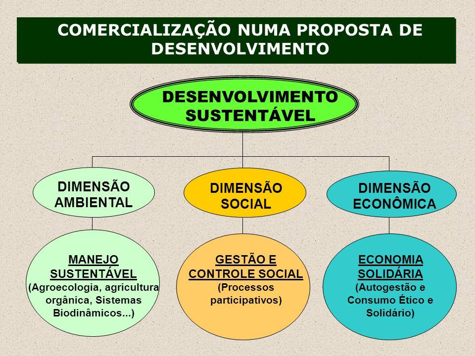 MANEJO SUSTENTÁVEL (Agroecologia, agricultura orgânica, Sistemas Biodinâmicos...) GESTÃO E CONTROLE SOCIAL (Processos participativos) ECONOMIA SOLIDÁRIA (Autogestão e Consumo Ético e Solidário) DESENVOLVIMENTO SUSTENTÁVEL DIMENSÃO AMBIENTAL DIMENSÃO SOCIAL DIMENSÃO ECONÔMICA COMERCIALIZAÇÃO NUMA PROPOSTA DE DESENVOLVIMENTO