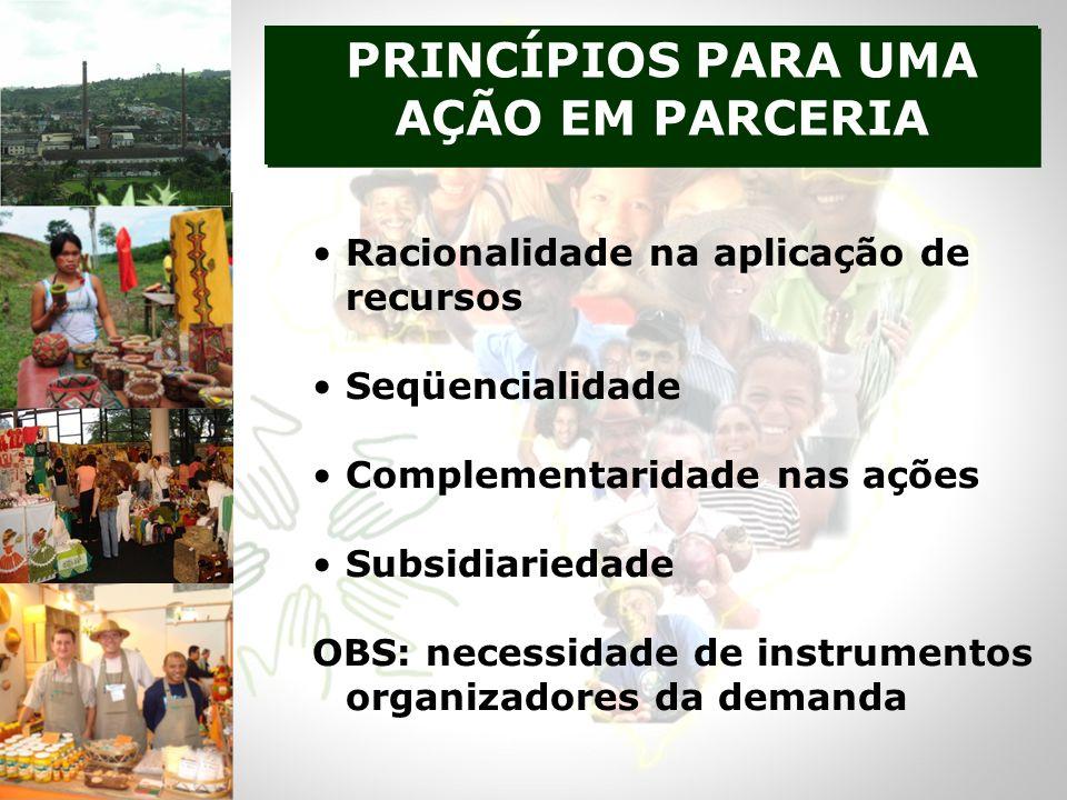 Racionalidade na aplicação de recursos Seqüencialidade Complementaridade nas ações Subsidiariedade OBS: necessidade de instrumentos organizadores da demanda PRINCÍPIOS PARA UMA AÇÃO EM PARCERIA