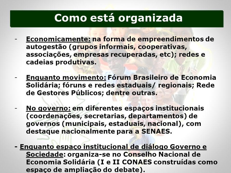 -Economicamente: na forma de empreendimentos de autogestão (grupos informais, cooperativas, associações, empresas recuperadas, etc); redes e cadeias produtivas.