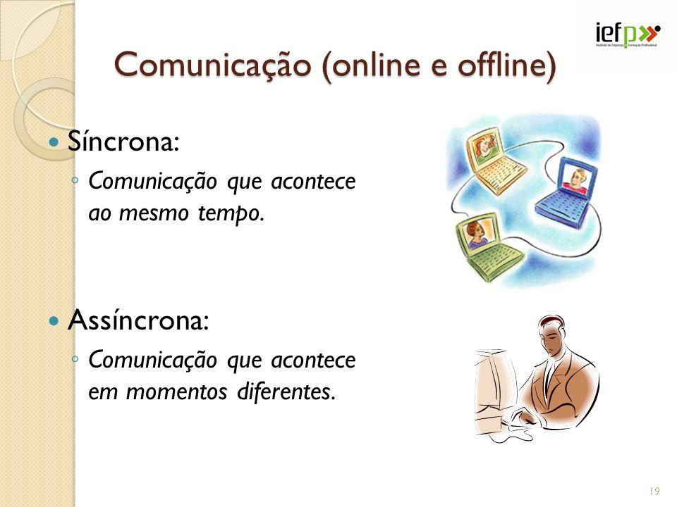 Comunicação (online e offline) Síncrona: Comunicação que acontece ao mesmo tempo. Assíncrona: Comunicação que acontece em momentos diferentes. 19