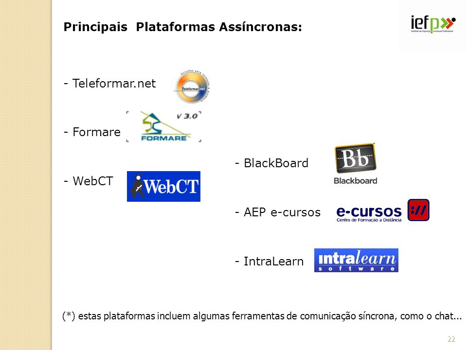 Principais Plataformas Assíncronas: - Teleformar.net - Formare - WebCT - BlackBoard - AEP e-cursos - IntraLearn (*) estas plataformas incluem algumas ferramentas de comunicação síncrona, como o chat...