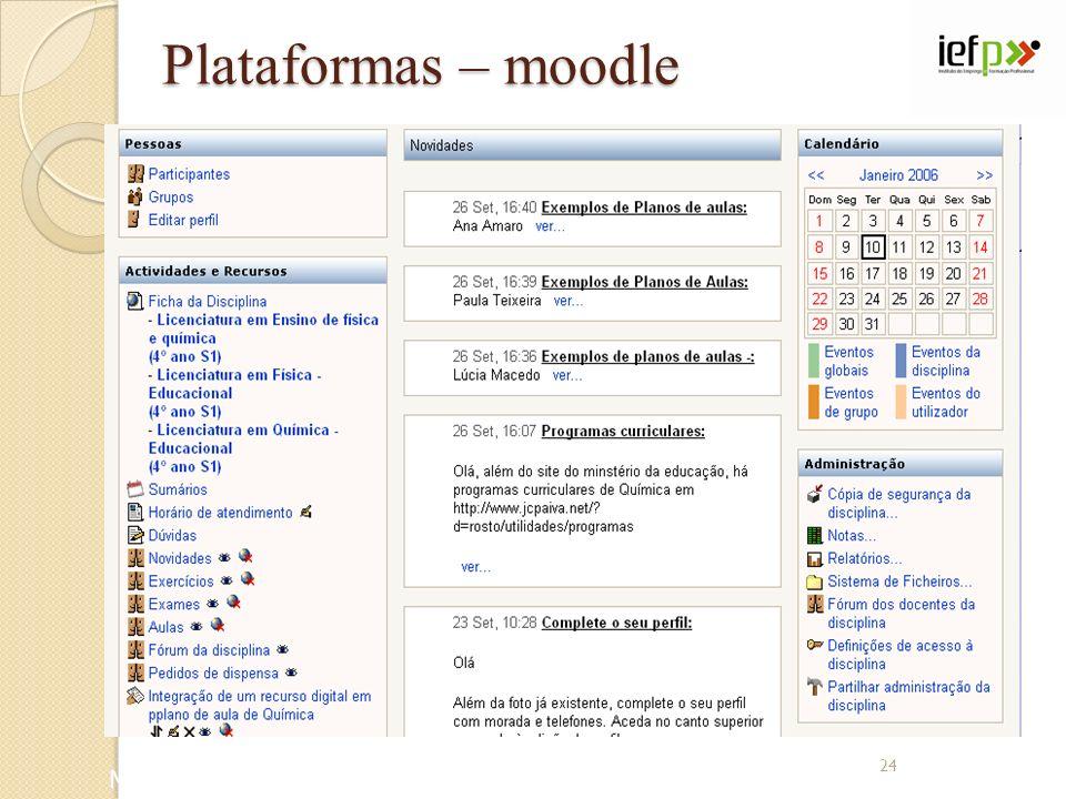 Plataformas – moodle Moodle: www.moodle.com 24
