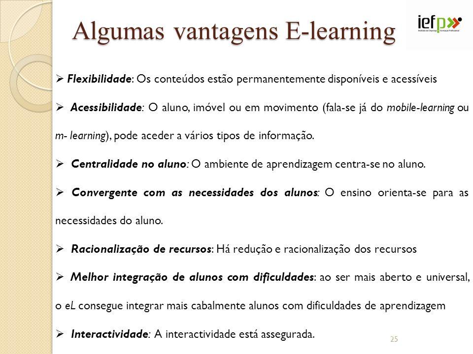 Algumas vantagens E-learning Flexibilidade: Os conteúdos estão permanentemente disponíveis e acessíveis Acessibilidade: O aluno, imóvel ou em moviment