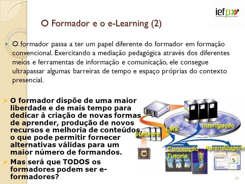 O Formador e o e-Learning (2) O formador passa a ter um papel diferente do formador em formação convencional.
