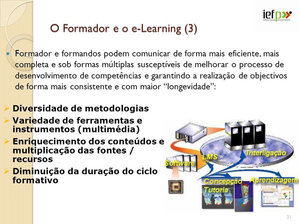 O Formador e o e-Learning (3) Formador e formandos podem comunicar de forma mais eficiente, mais completa e sob formas múltiplas susceptíveis de melho