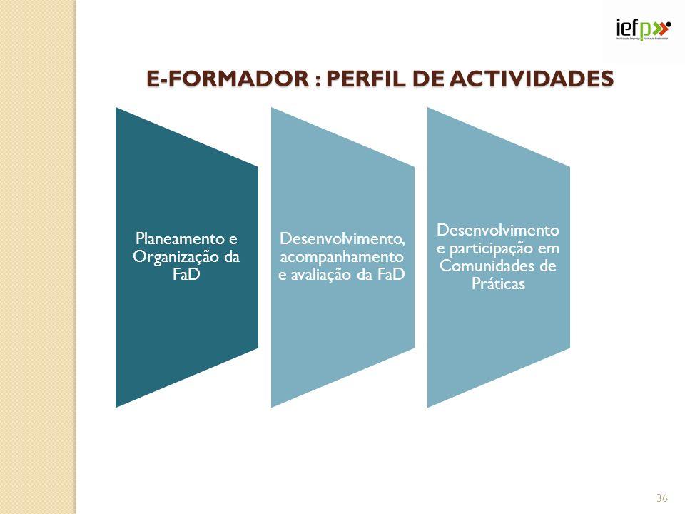 E-FORMADOR : PERFIL DE ACTIVIDADES 36 Planeamento e Organização da FaD Desenvolvimento, acompanhamento e avaliação da FaD Desenvolvimento e participação em Comunidades de Práticas