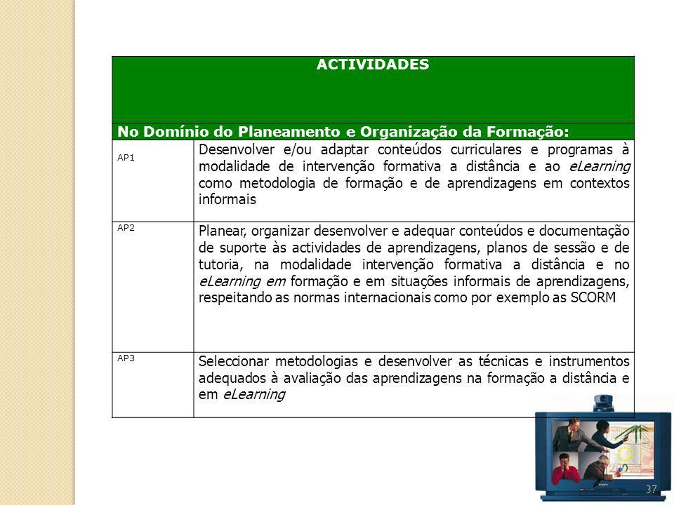 37 ACTIVIDADES No Domínio do Planeamento e Organização da Formação: AP1 Desenvolver e/ou adaptar conteúdos curriculares e programas à modalidade de in