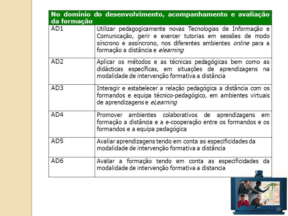 38 No domínio do desenvolvimento, acompanhamento e avaliação da formação AD1 Utilizar pedagogicamente novas Tecnologias de Informação e Comunicação, g