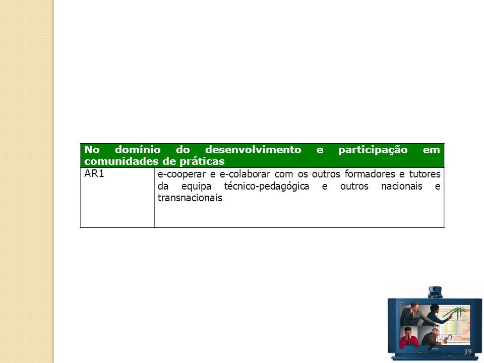 39 No domínio do desenvolvimento e participação em comunidades de práticas AR1 e-cooperar e e-colaborar com os outros formadores e tutores da equipa t