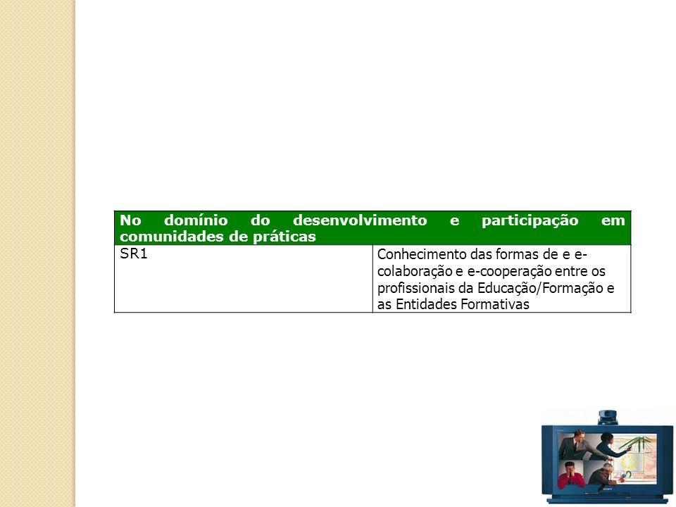 42 No domínio do desenvolvimento e participação em comunidades de práticas SR1 Conhecimento das formas de e e- colaboração e e-cooperação entre os profissionais da Educação/Formação e as Entidades Formativas