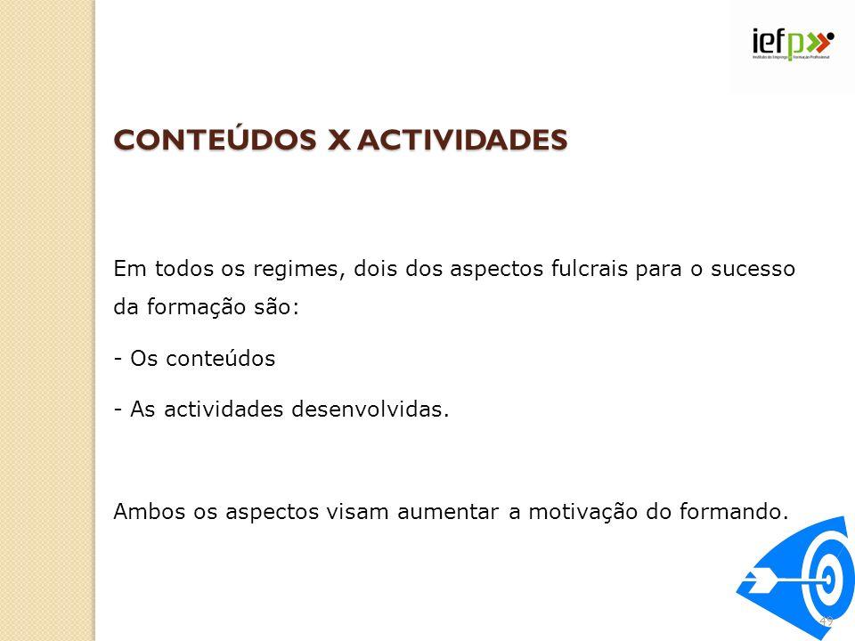 CONTEÚDOS X ACTIVIDADES Em todos os regimes, dois dos aspectos fulcrais para o sucesso da formação são: - Os conteúdos - As actividades desenvolvidas.