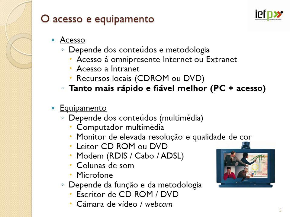 O acesso e equipamento Acesso Depende dos conteúdos e metodologia Acesso à omnipresente Internet ou Extranet Acesso a Intranet Recursos locais (CDROM ou DVD) Tanto mais rápido e fiável melhor (PC + acesso) Equipamento Depende dos conteúdos (multimédia) Computador multimédia Monitor de elevada resolução e qualidade de cor Leitor CD ROM ou DVD Modem (RDIS / Cabo / ADSL) Colunas de som Microfone Depende da função e da metodologia Escritor de CD ROM / DVD Câmara de vídeo / webcam 5