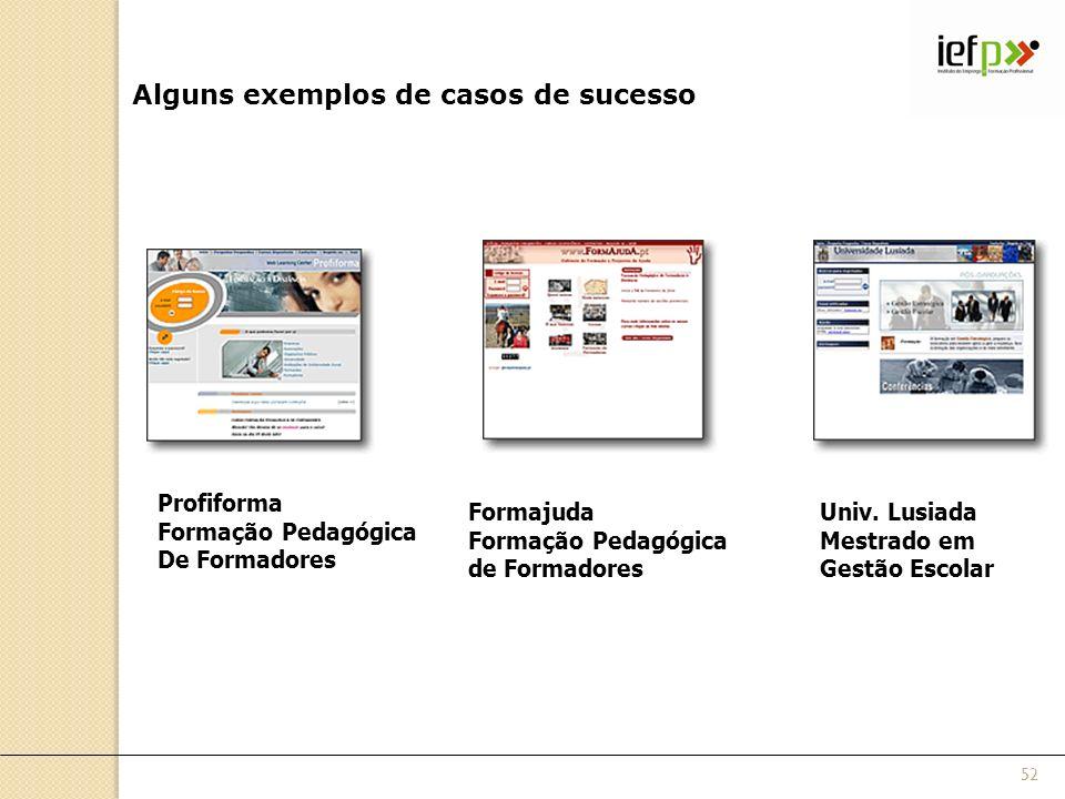 Alguns exemplos de casos de sucesso Profiforma Formação Pedagógica De Formadores Formajuda Formação Pedagógica de Formadores Univ. Lusiada Mestrado em