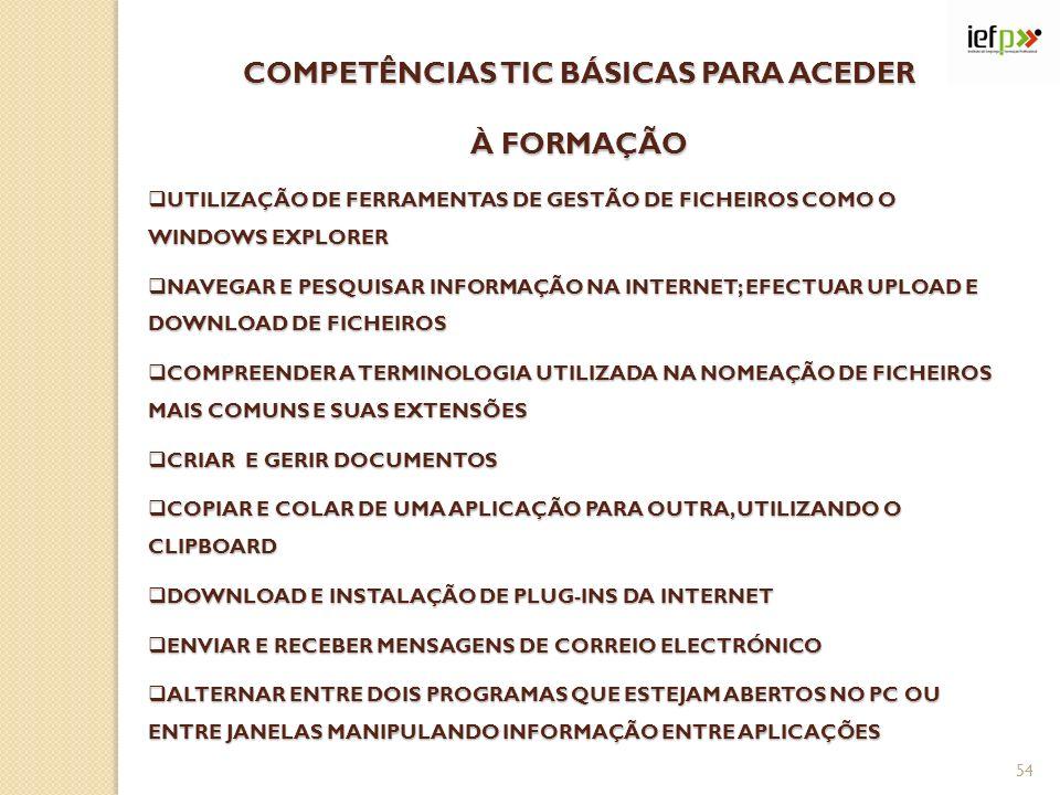 COMPETÊNCIAS TIC BÁSICAS PARA ACEDER À FORMAÇÃO UTILIZAÇÃO DE FERRAMENTAS DE GESTÃO DE FICHEIROS COMO O WINDOWS EXPLORER UTILIZAÇÃO DE FERRAMENTAS DE GESTÃO DE FICHEIROS COMO O WINDOWS EXPLORER NAVEGAR E PESQUISAR INFORMAÇÃO NA INTERNET; EFECTUAR UPLOAD E DOWNLOAD DE FICHEIROS NAVEGAR E PESQUISAR INFORMAÇÃO NA INTERNET; EFECTUAR UPLOAD E DOWNLOAD DE FICHEIROS COMPREENDER A TERMINOLOGIA UTILIZADA NA NOMEAÇÃO DE FICHEIROS MAIS COMUNS E SUAS EXTENSÕES COMPREENDER A TERMINOLOGIA UTILIZADA NA NOMEAÇÃO DE FICHEIROS MAIS COMUNS E SUAS EXTENSÕES CRIAR E GERIR DOCUMENTOS CRIAR E GERIR DOCUMENTOS COPIAR E COLAR DE UMA APLICAÇÃO PARA OUTRA, UTILIZANDO O CLIPBOARD COPIAR E COLAR DE UMA APLICAÇÃO PARA OUTRA, UTILIZANDO O CLIPBOARD DOWNLOAD E INSTALAÇÃO DE PLUG-INS DA INTERNET DOWNLOAD E INSTALAÇÃO DE PLUG-INS DA INTERNET ENVIAR E RECEBER MENSAGENS DE CORREIO ELECTRÓNICO ENVIAR E RECEBER MENSAGENS DE CORREIO ELECTRÓNICO ALTERNAR ENTRE DOIS PROGRAMAS QUE ESTEJAM ABERTOS NO PC OU ENTRE JANELAS MANIPULANDO INFORMAÇÃO ENTRE APLICAÇÕES ALTERNAR ENTRE DOIS PROGRAMAS QUE ESTEJAM ABERTOS NO PC OU ENTRE JANELAS MANIPULANDO INFORMAÇÃO ENTRE APLICAÇÕES 54