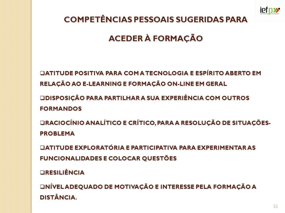 COMPETÊNCIAS PESSOAIS SUGERIDAS PARA ACEDER À FORMAÇÃO ATITUDE POSITIVA PARA COM A TECNOLOGIA E ESPÍRITO ABERTO EM RELAÇÃO AO E-LEARNING E FORMAÇÃO ON-LINE EM GERAL ATITUDE POSITIVA PARA COM A TECNOLOGIA E ESPÍRITO ABERTO EM RELAÇÃO AO E-LEARNING E FORMAÇÃO ON-LINE EM GERAL DISPOSIÇÃO PARA PARTILHAR A SUA EXPERIÊNCIA COM OUTROS FORMANDOS DISPOSIÇÃO PARA PARTILHAR A SUA EXPERIÊNCIA COM OUTROS FORMANDOS RACIOCÍNIO ANALÍTICO E CRÍTICO, PARA A RESOLUÇÃO DE SITUAÇÕES- PROBLEMA RACIOCÍNIO ANALÍTICO E CRÍTICO, PARA A RESOLUÇÃO DE SITUAÇÕES- PROBLEMA ATITUDE EXPLORATÓRIA E PARTICIPATIVA PARA EXPERIMENTAR AS FUNCIONALIDADES E COLOCAR QUESTÕES ATITUDE EXPLORATÓRIA E PARTICIPATIVA PARA EXPERIMENTAR AS FUNCIONALIDADES E COLOCAR QUESTÕES RESILIÊNCIA RESILIÊNCIA NÍVEL ADEQUADO DE MOTIVAÇÃO E INTERESSE PELA FORMAÇÃO A DISTÂNCIA.