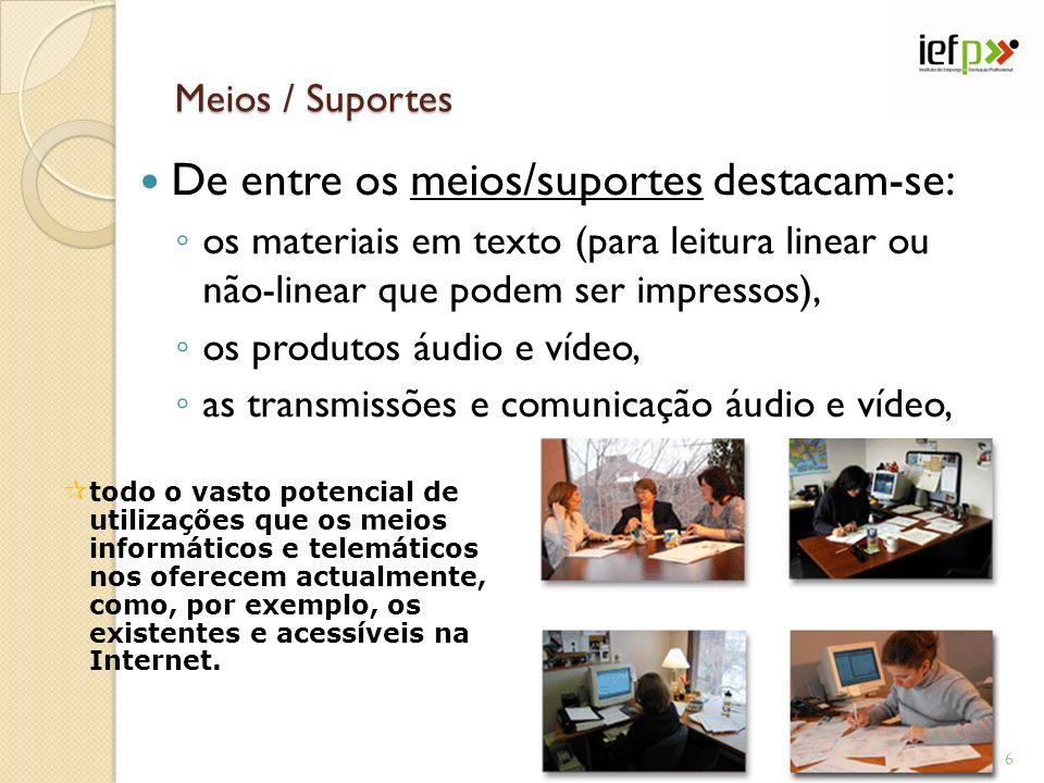 Meios / Suportes De entre os meios/suportes destacam-se: os materiais em texto (para leitura linear ou não-linear que podem ser impressos), os produto