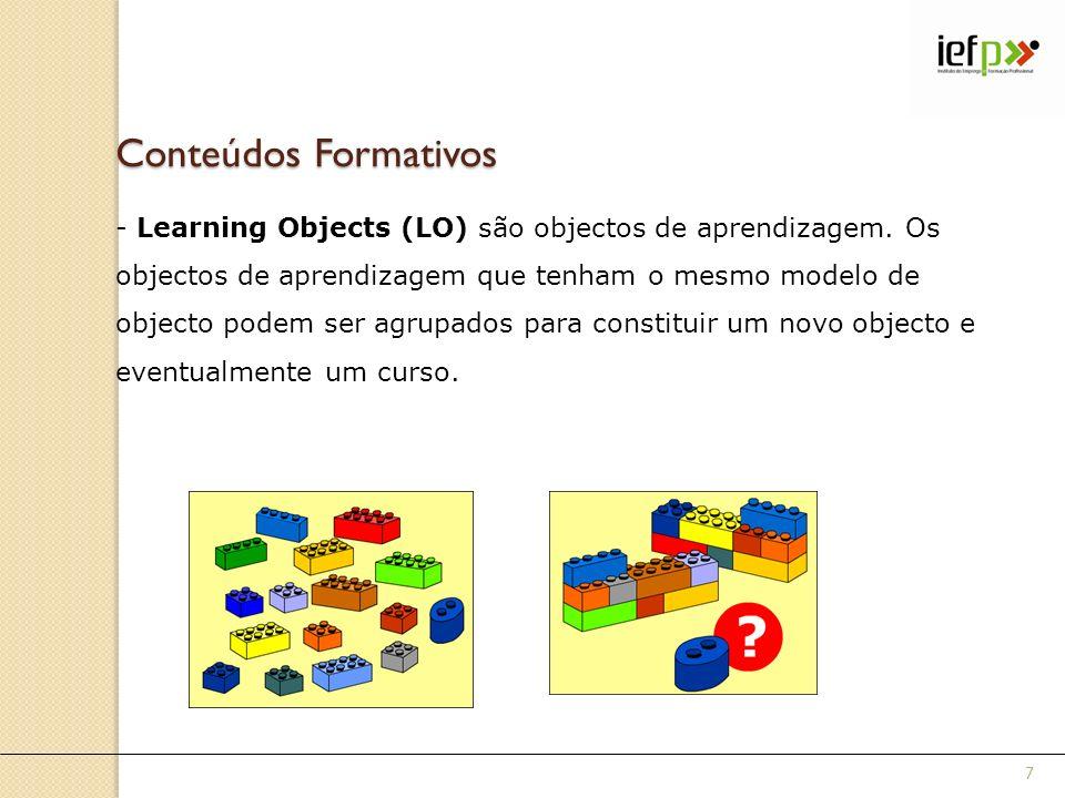 Conteúdos Formativos - Learning Objects (LO) são objectos de aprendizagem. Os objectos de aprendizagem que tenham o mesmo modelo de objecto podem ser