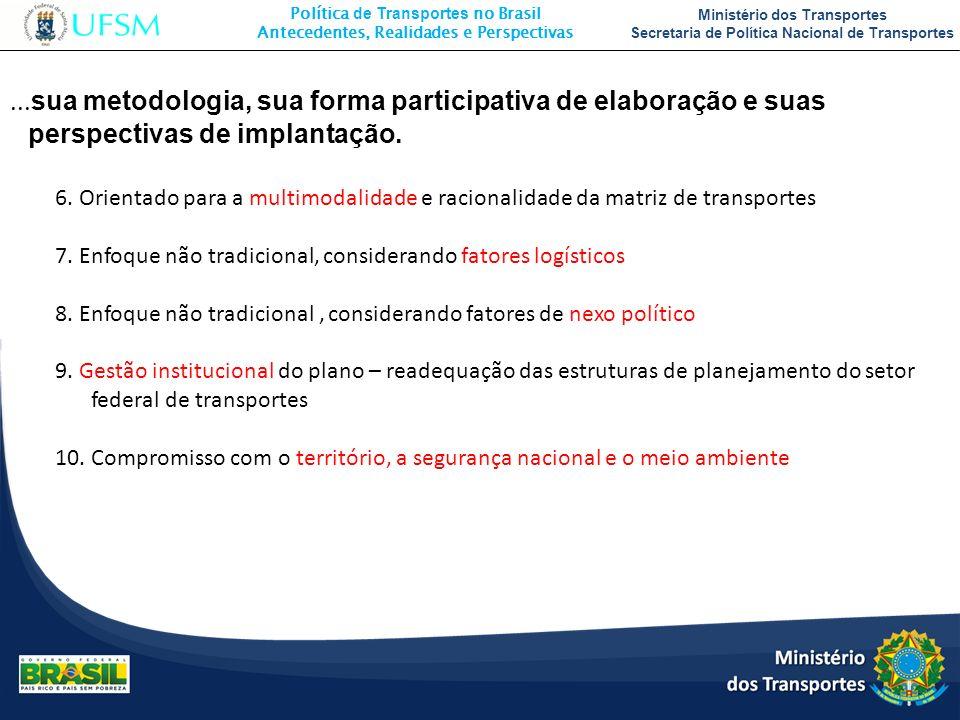 Política de Transportes no Brasil Antecedentes, Realidades e Perspectivas Ministério dos Transportes Secretaria de Política Nacional de Transportes...