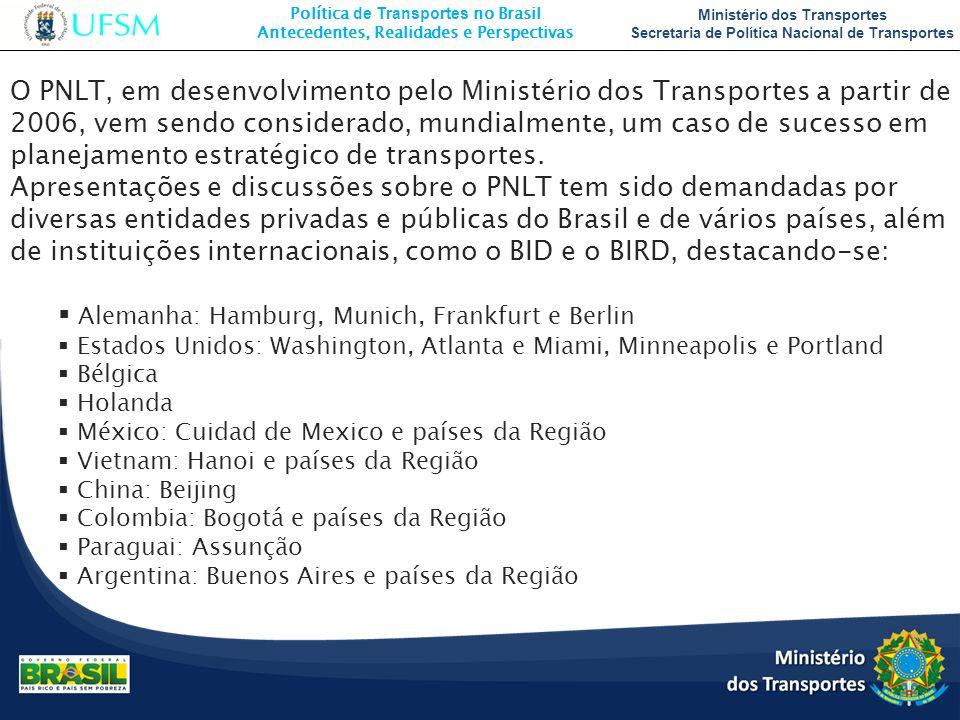 Política de Transportes no Brasil Antecedentes, Realidades e Perspectivas Ministério dos Transportes Secretaria de Política Nacional de Transportes O