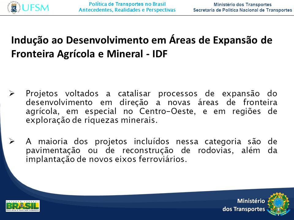 Política de Transportes no Brasil Antecedentes, Realidades e Perspectivas Ministério dos Transportes Secretaria de Política Nacional de Transportes Pr