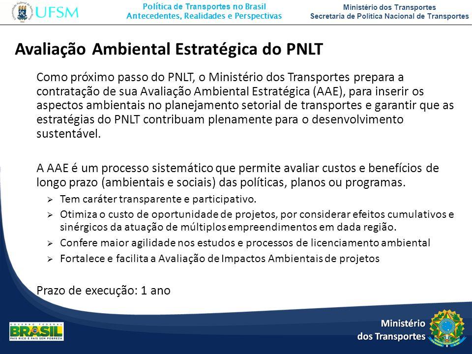 Política de Transportes no Brasil Antecedentes, Realidades e Perspectivas Ministério dos Transportes Secretaria de Política Nacional de Transportes Ø