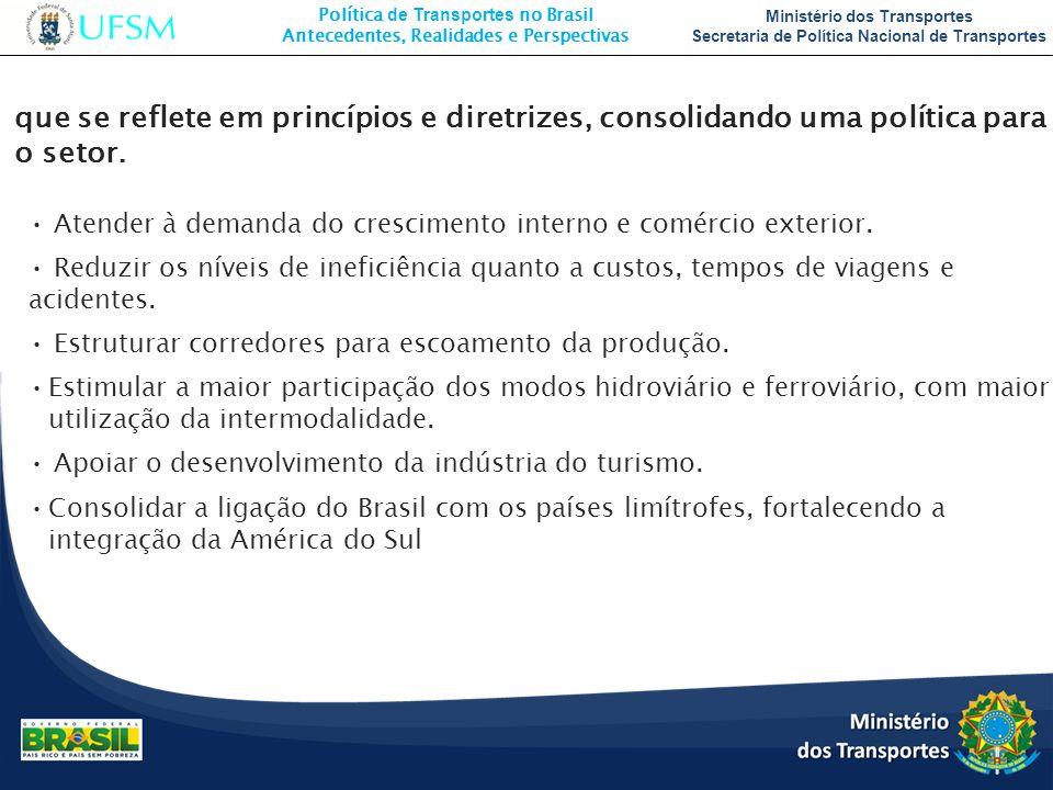 Política de Transportes no Brasil Antecedentes, Realidades e Perspectivas Ministério dos Transportes Secretaria de Política Nacional de Transportes qu