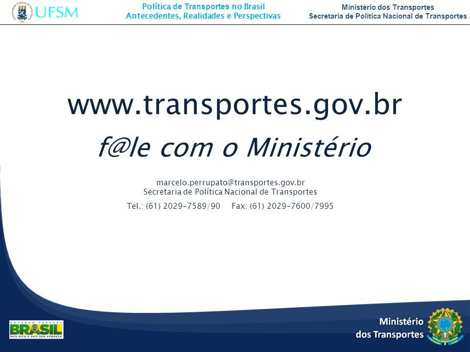 Política de Transportes no Brasil Antecedentes, Realidades e Perspectivas Ministério dos Transportes Secretaria de Política Nacional de Transportes ww