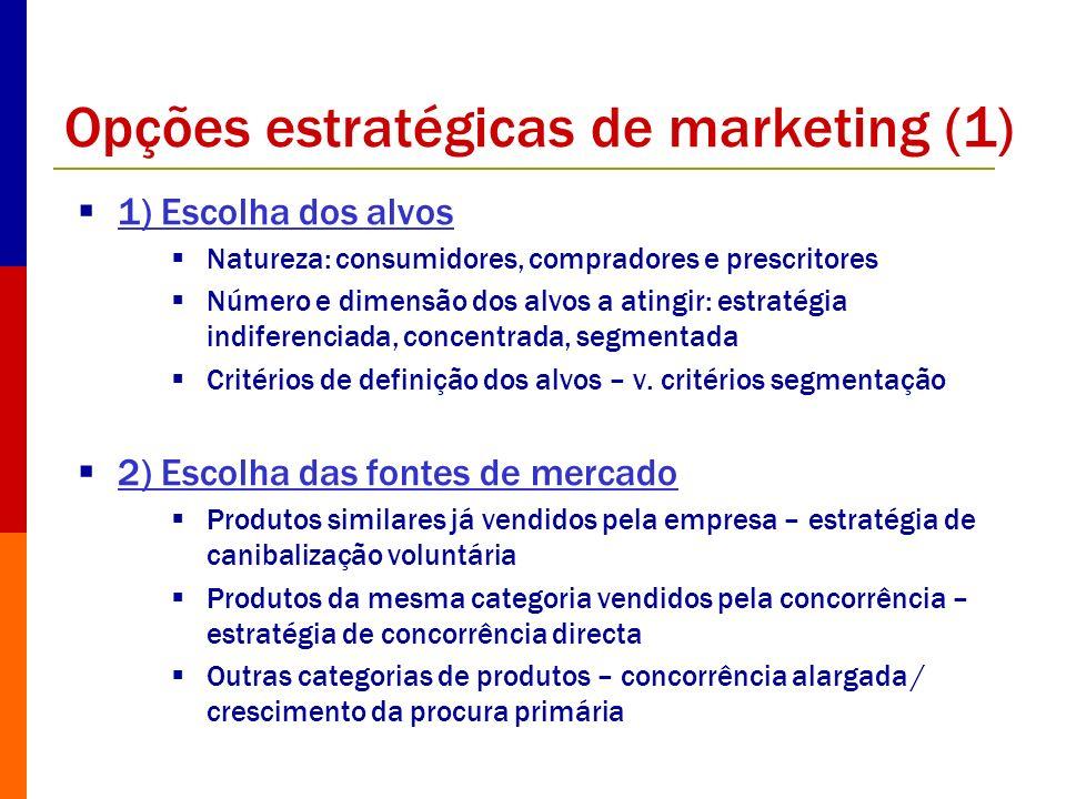 Opções estratégicas de marketing (1) 1) Escolha dos alvos Natureza: consumidores, compradores e prescritores Número e dimensão dos alvos a atingir: es