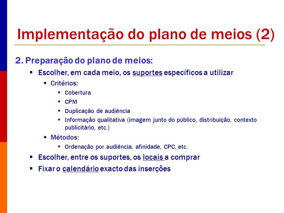 Implementação do plano de meios (2) 2. Preparação do plano de meios: Escolher, em cada meio, os suportes específicos a utilizar Critérios: Cobertura C